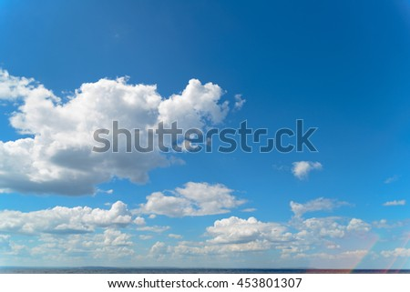 the cloudy blue sky, texture of the clouds  - stock photo
