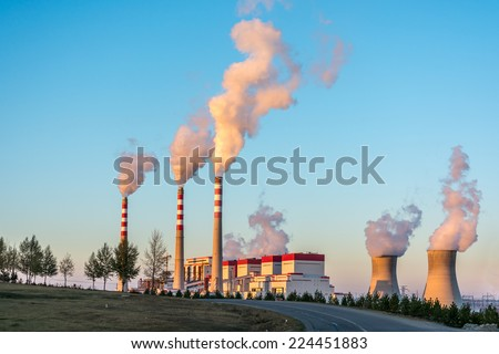 The Coal-Fired Power Plant in Inner Mongolia of China - stock photo
