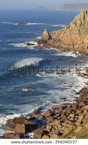 The coast at Land's End looking towards Cape Cornwall, England, UK. - stock photo
