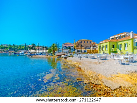 the coast of Spetses island in Greece - stock photo