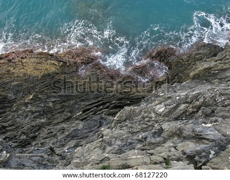 The coast of the cinque terre at the Ligurian sea in Italy - stock photo