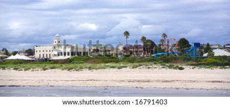 The coastal Adelaide suburb of Semaphore, as seen from the jetty (Australia). - stock photo