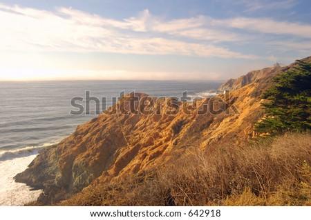 The coastline between San Francisco and Half Moon Bay, California - stock photo