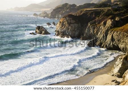 The coastline in the Big Sur area of California. - stock photo