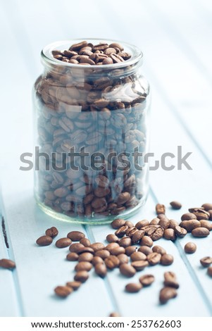 the coffee beans in jar  - stock photo