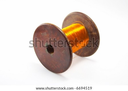 The coil of a copper wire for electronical - stock photo