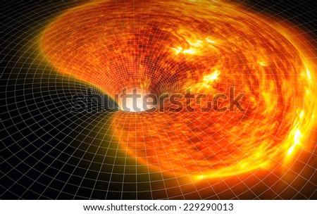 The collapse of the sun. Fantastic scene. - stock photo