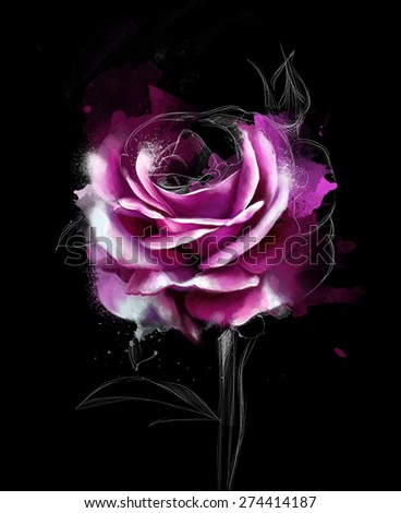 the collection of beautiful roses on a black background, with elements of the sketch with space for text, watercolor illustration - stock photo
