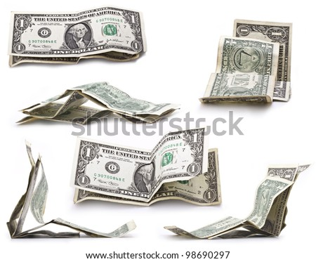 The collection of crumpled one dollar bills - stock photo