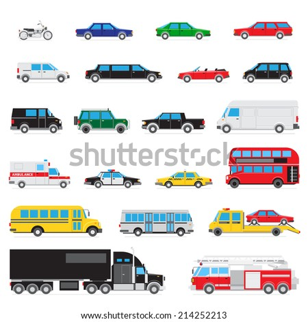 The collection of simple and different kinds and types of cars - stock photo