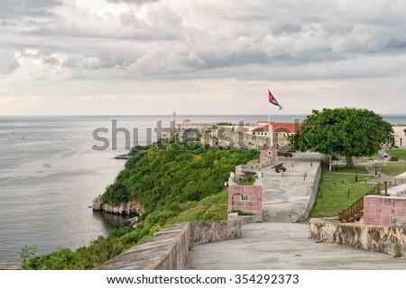 The colonial fortresses of El Morro and La Cabana in Havana - stock photo