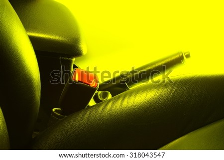 The color filter of car seat photo represent the interior car part concept related idea.  - stock photo