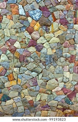 the colored Pattern of old stone Wall Surfaced - stock photo
