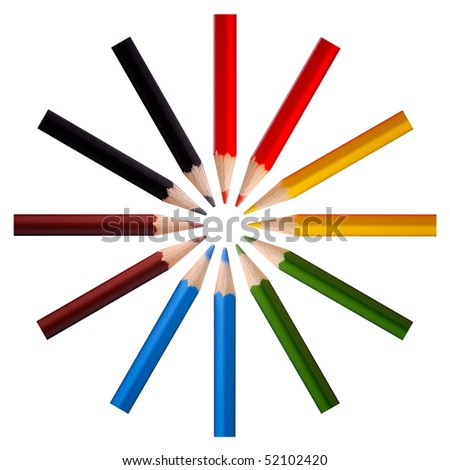 The colored pencils on a white background. - stock photo