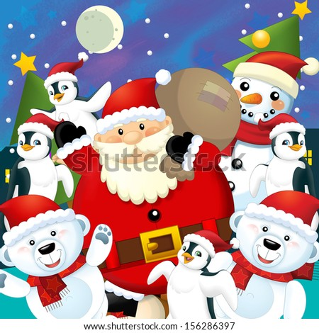 The colorful christmas - greeting card - illustration for the children - stock photo