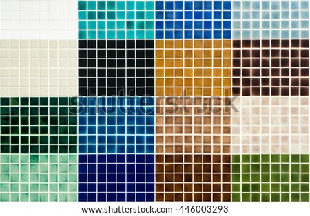 The colorful clay ceramic  tiles with glazed surface (coating) in Mixing colors, products of the northern Thailand  - stock photo