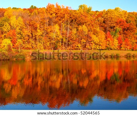 The colorful foliage landscape in New Jersey - stock photo