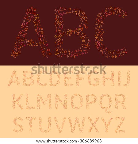 The colorful font from the letters. Raster copy of vector file. - stock photo