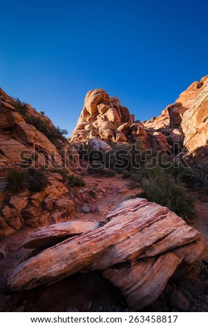 The colorful formations at the bottom of Red Rock Canyon Conservation Area near Las Vegas, Nevada. - stock photo
