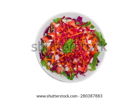 The colorful fresh vegetable salad isolated on white background - stock photo