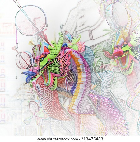 The Colorful of  Dragon Toy, Illustration style - stock photo