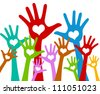 The Colorful Raised Hands With Heart For Volunteer and Voting Concept Isolated On White Background - stock photo