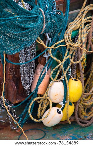 The Colorful Rigging on a Fishing Boat - stock photo