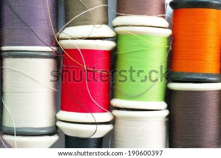 The Colorful spools of thread - stock photo