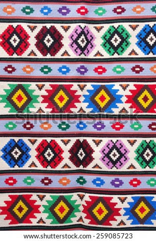 The colorful traditional carpet from city Kotel, Bulgaria - stock photo