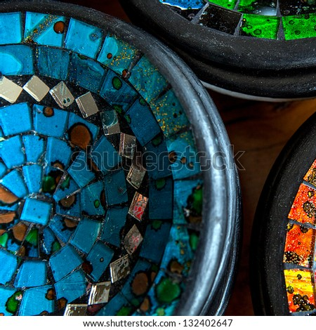 The Colorful vintage ceramic tiles - stock photo
