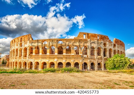 The Colosseo, coliseum, Flavian Amphitheatre, is the largest amphitheater in the world and one of the symbols of Italy. Symbol of Rome, located in historical center, a Unesco Heritage Site. - stock photo