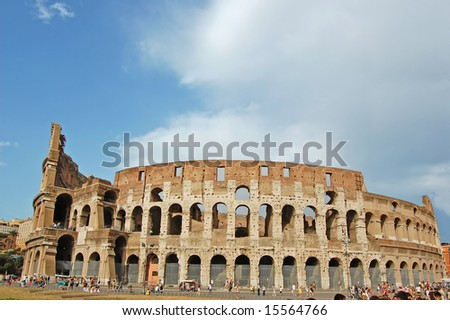 The Colosseum, famous ancient amphitheater in Rome, Italy. - stock photo