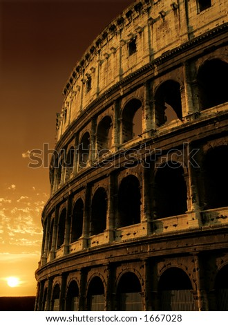 The Colosseum in Rome, Italy. - stock photo