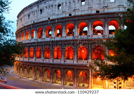 The Colosseum in Rome, the evening - stock photo