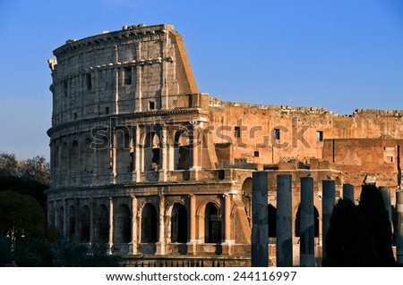 The Colosseum or Coliseum, also known as the Flavian Amphitheater. The largest amphitheater in the world. - stock photo