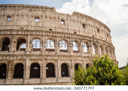 The Colosseum or Coliseum, also known as the Flavian Amphitheatre in Rome, Italy - stock photo