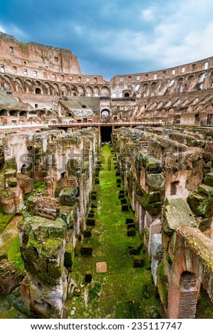 The Colosseum or Coliseum, also known as the Flavian Amphitheatre is an elliptical amphitheatre in Rome, Italy. Built of concrete and stone it is the largest amphitheatre in the world. - stock photo