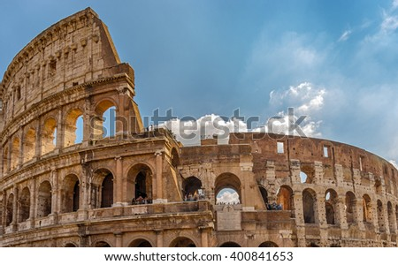 The Colosseum or Flavian Amphitheatre - monument of architecture of ancient Rome, one of the most grandiose buildings of the ancient world that have survived to our time. Rome. Italy.  - stock photo