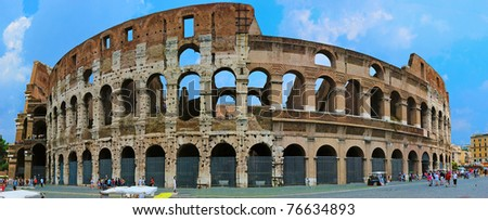 The Colosseum Panorama in Rome Italy - stock photo