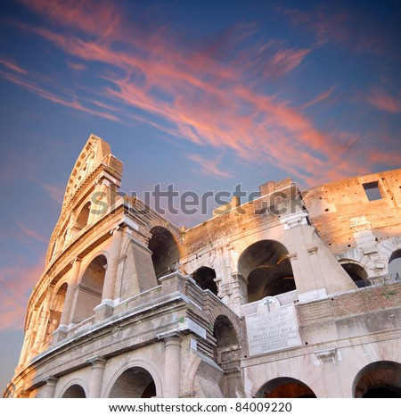 The Colosseum, place of bloody hand-to-hand fight?of the Roman gladiators. Rome, Italy. - stock photo