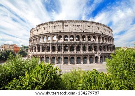 The Colosseum (Roman Coliseum architecture landmark). Rome , Italy - stock photo