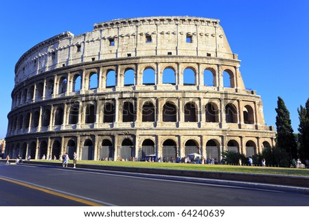 The Colosseum, the world famous landmark in Rome - stock photo