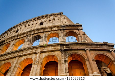 The Colosseum was built in the 70s AD and was the largest amphitheatre built during the Roman Empire. - stock photo