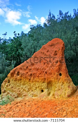 The Coloured Sands Fraser Island, known as the Pinnacles, sculptured by natures elements are truly one of Fraser Islands natural wonders - stock photo