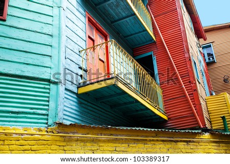 The colourful buildings of La Boca Buenos Aires Argentina - stock photo