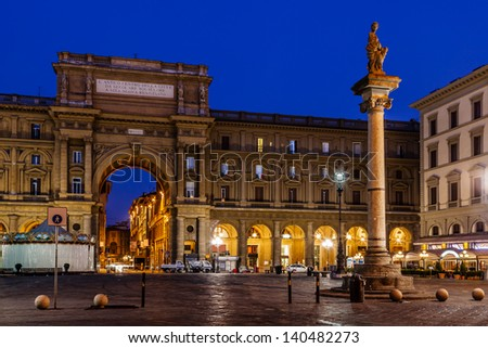 The Column of Abundance in the Piazza della Repubblica in the Morning, Florence, Italy - stock photo