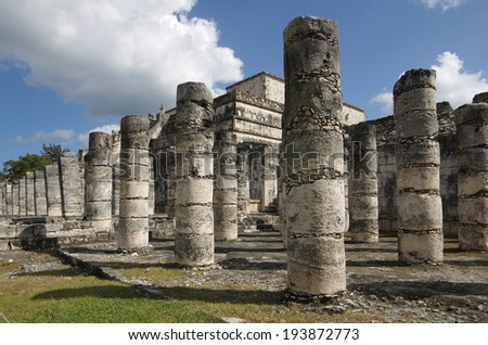 The columns in the thousand warriors temple complex inside the maya archeological site of Chichen Itza, Mexico - stock photo