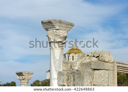 The columns of famous early Christian basilica known as the 1935 Basilica and Saint Vladimir Cathedral in Chersonesus, Sevastopol, Crimea, Russia. - stock photo