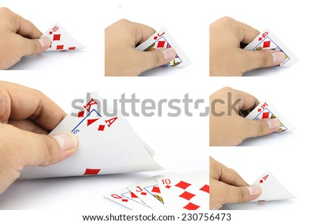 The combination of cards will come as a great piece of Royal Straight Flush of spade in poker game on a white background , Focuses on card in the hand - stock photo