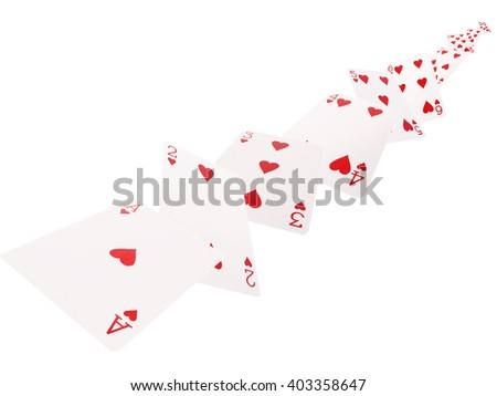 The combination of playing cards. hearts .on a white background. - stock photo